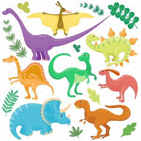 Dinosaur cartoon collection vector ~ Illustrations ...
