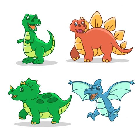 Dinosaur cartoon style illustration set Vector | Premium ...