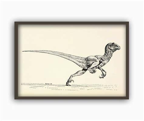 Dinosaur Print Velociraptor Dinosaur Poster Dinosaur Wall ...
