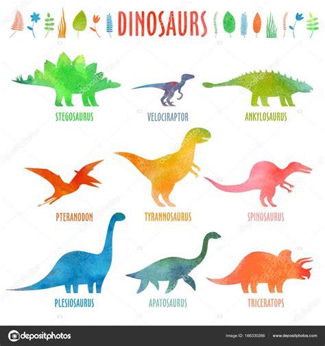 Dinosaurier Arten in Aquarell — Stockvektor  ko.t.3208 ...