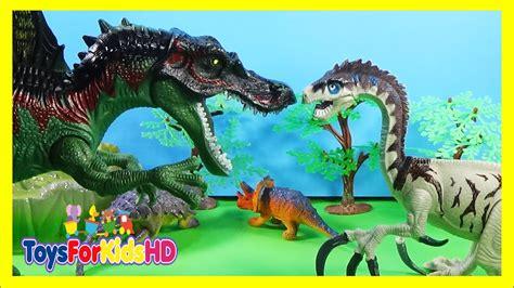 Dinosaurios para niños Spinosaurus vs Therizinosaurus ...