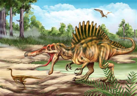Dinossauro De Spinosaurus E De Velociraptor Ilustração ...