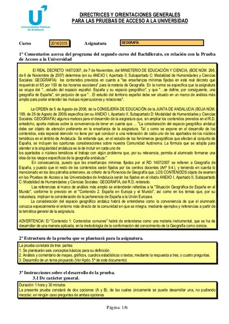 Directrices y orientaciones.geografía.2014 2015.pau