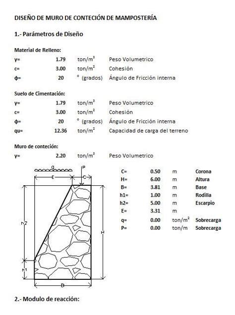 Diseño de muro de contencion mamposteria  xlsPlanilla de ...
