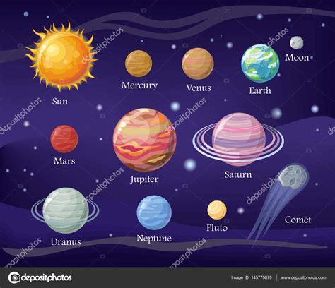 Diseño de sistema solar. Espacio, con planetas y estrellas ...