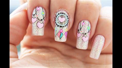 Diseño de uñas Atrapasueños   Dreamcatcher nail art   YouTube