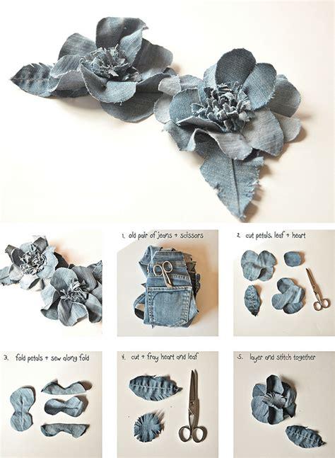 Diy denim flowers   Denim flowers, Cloth flowers, Denim crafts