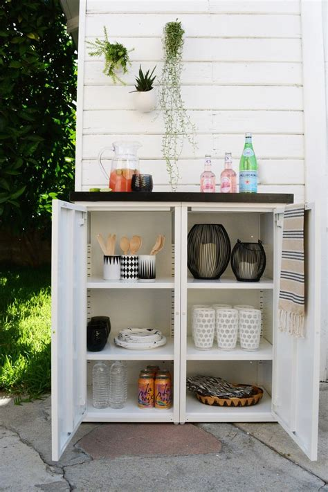 DIY outdoor buffet. 2 IKEA metal cabinets and a custom ...