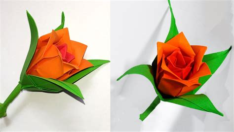 DIY paper rose in origami style. Easy paper rose ...