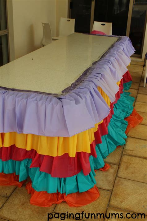 DIY Rainbow Ruffle Tablecloth  With images  | Mexican ...