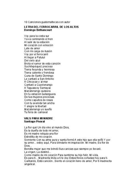 DOC  10 Canciones guatemaltecas con autor | Alexander ...