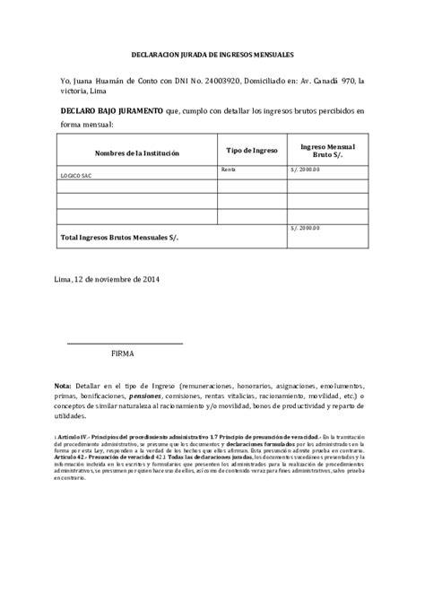 DOC  DECLARACION JURADA DE INGRESOS MENSUALES   Cristhian ...