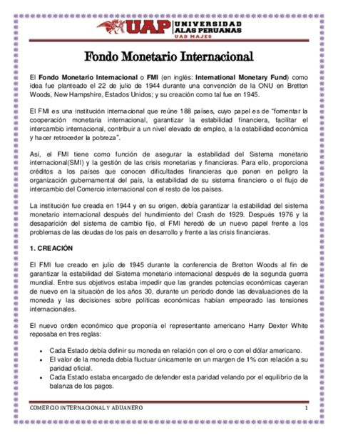 DOC  Fondo Monetario Internacional El Fondo Monetario ...