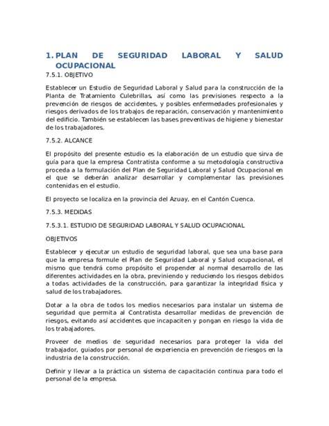 DOC  PLAN DE SEGURIDAD LABORAL Y SALUD OCUPACIONAL ...