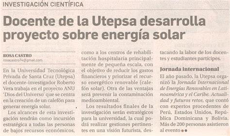 Docente de la Utepsa desarrolla proyecto sobre energia solar