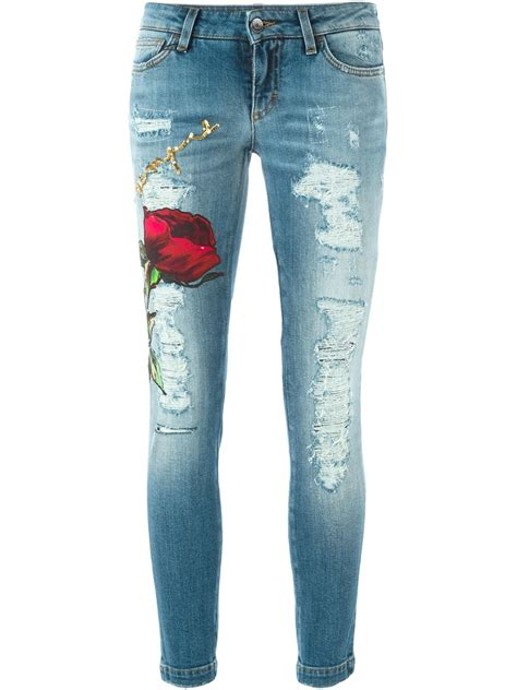 Dolce & Gabbana Rose Appliqué Ripped Jeans in Blue   Lyst