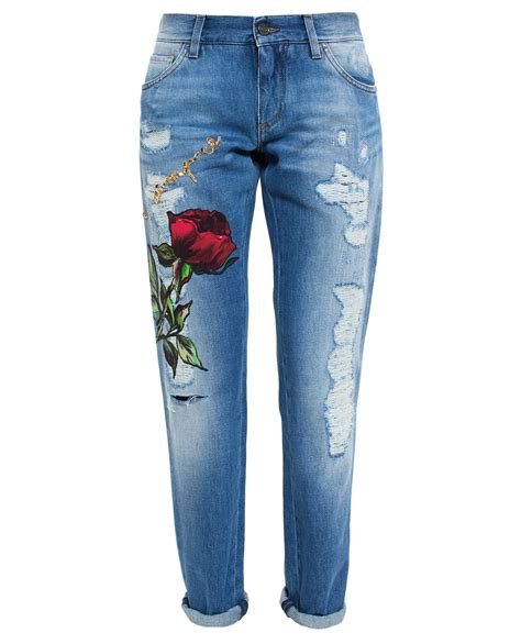 Dolce & gabbana Roses Embroidered Jeans in Blue | Lyst