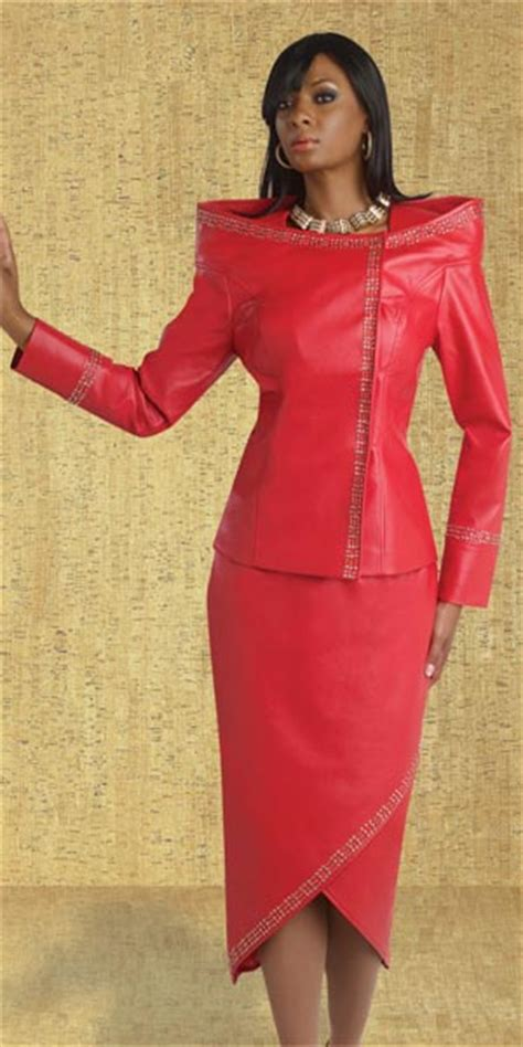 Donna Vinci 11358 Womens Faux Leather Suit: French Novelty