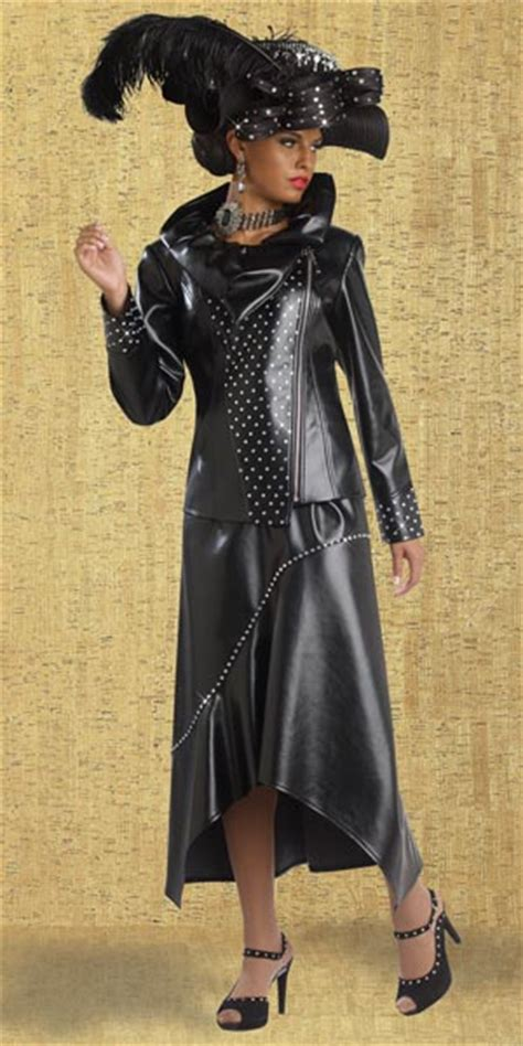 Donna Vinci 11360 Womens Faux Leather Church Suit: French ...