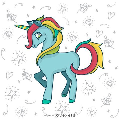 Doodle de unicornio colorido dibujo   Descargar vector