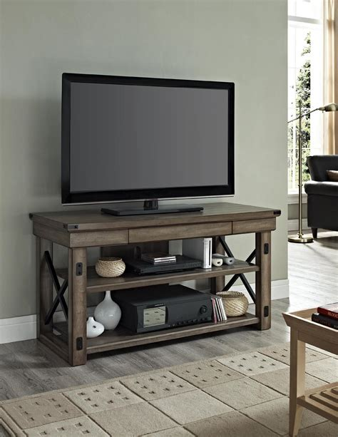 Dorel Wildwood Rustic Gray TV Console with Metal Frame