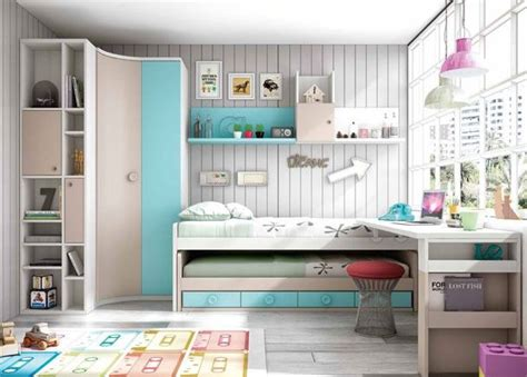 Dormitorio Infantil con dos camas y Armario rincón ...