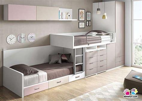 Dormitorio infantil con literas tipo tren y armario ...