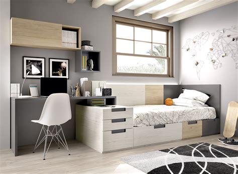Dormitorio juvenil cama compacta H501 Natural ...