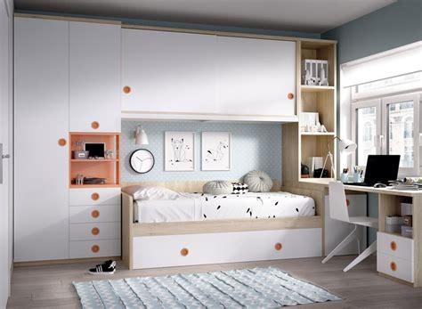 Dormitorio Juvenil con 2 camas, armario, altillo y ...
