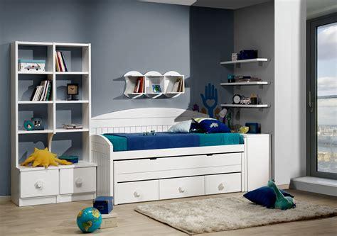 Dormitorio juvenil con cama compacto blanca con 3 cajones ...