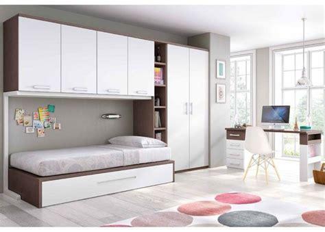 Dormitorio Juvenil con cama nido altillo y armario ...