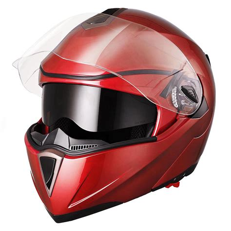 DOT Flip up Modular Full Face Motorcycle Helmet Dual Visor ...