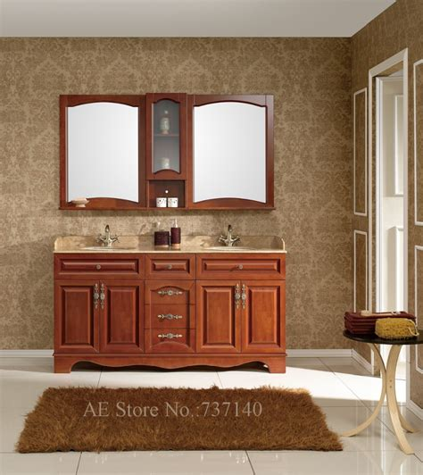 double basin bathroom cabinet high quality solid wood and ...