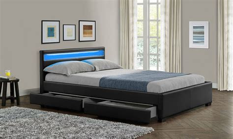 Double King Size Bed Frame with 4 Drawers Storage LED ...