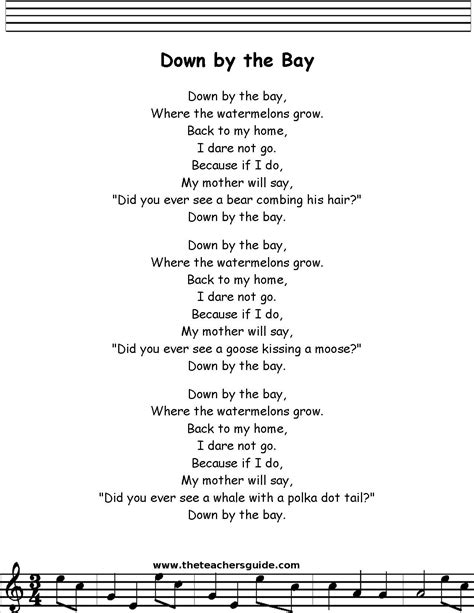down by the bay printout | Classroom songs, Kindergarten ...