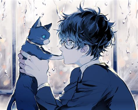 Download 1280x1024 Persona 5, Kurusu Akira, Anime Boy, Cat ...