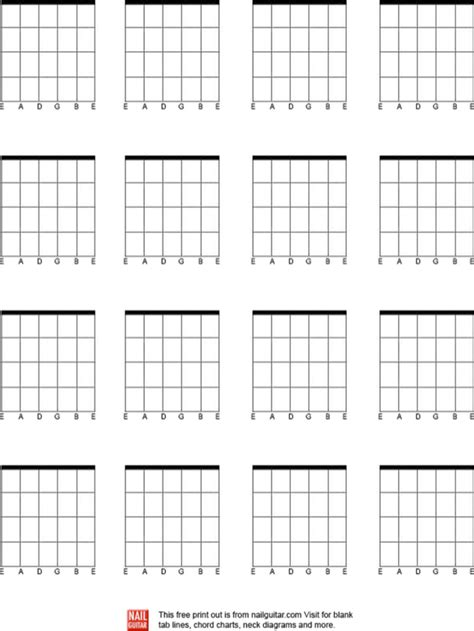 Download Blank Bass Guitar Chord Chart for Free   FormTemplate