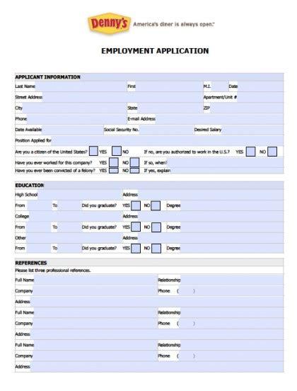 Download Fillable Denny s Job Application Form | Adobe PDF ...