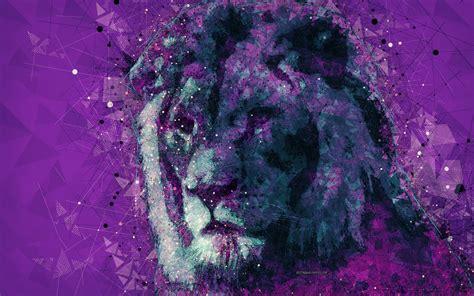 Download wallpapers lion, creative art, 4k, geometric art ...