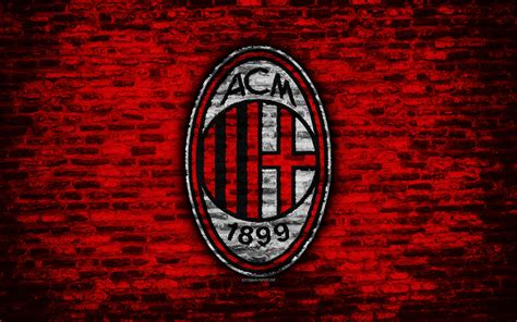 Download wallpapers Milan FC, 4k, logo, brick wall, Serie ...