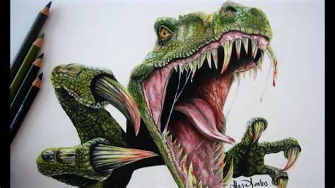 Drawing a Tyrannosaurus  T Rex  / Dibujando un dinosaurio ...