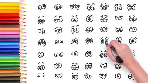 DRAWING VIDEO  49 DIFFERENT TYPES OF CARTOON EYES   HOW ...