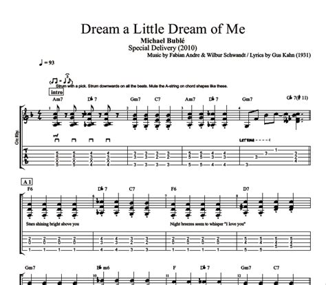 Dream a Little Dream of Me  by Michael Buble || Guitar ...