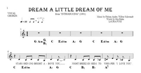 Dream a Little Dream of Me   Notes, lyrics and chords for ...