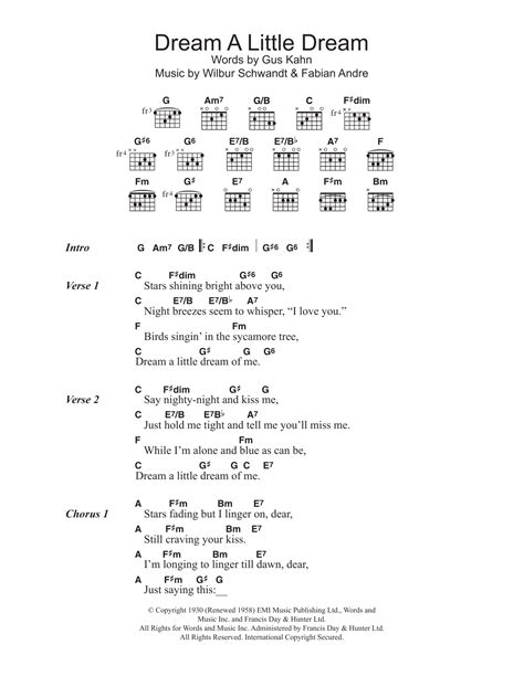 Dream A Little Dream Of Me Sheet Music | The Mamas & The ...