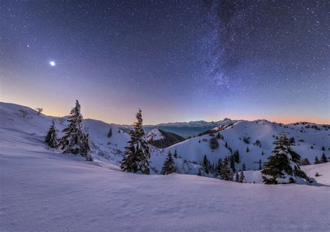 Dreamy Pixel | Starry night in the winter mountains ...