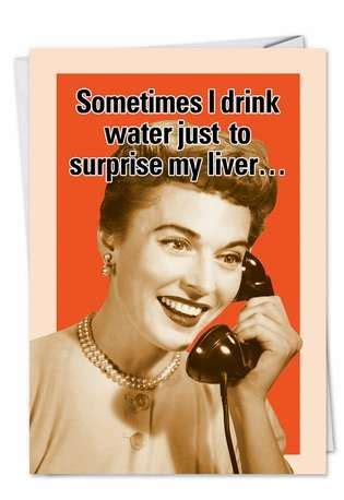 Drink Water Retro Funny Birthday Card   NobleWorks.com