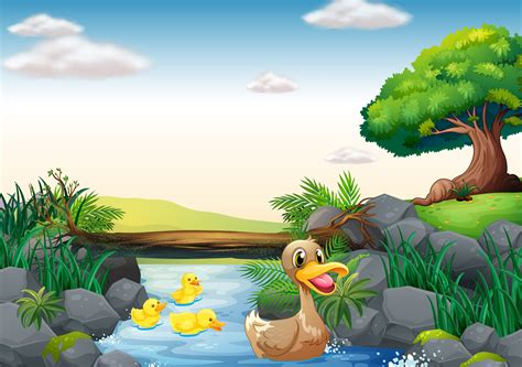 Ducks and river Vector   Download Free Vector Art, Stock ...