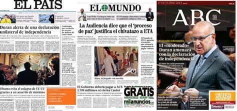 Duran  alerta de    El País   /  amenaza con    ABC   la ...