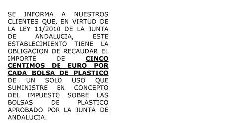 DYASE: CARTEL IMPUESTO BOLSAS DE PLASTICO